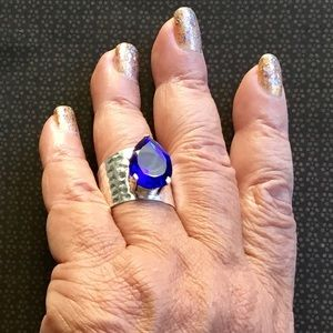 Tanzanite Solitaire Wide Band Gemstone Ring 9.5